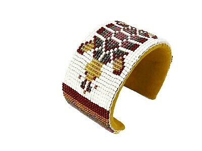 NATIVE STYLE HANDMADE BROWN WHITE TURTLE BEADED CUFF LEATHER BRACELET   Brown White Leather