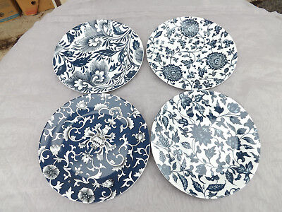 Williams Sonoma 4 Jardin Chinois Salad Plates Blue   White