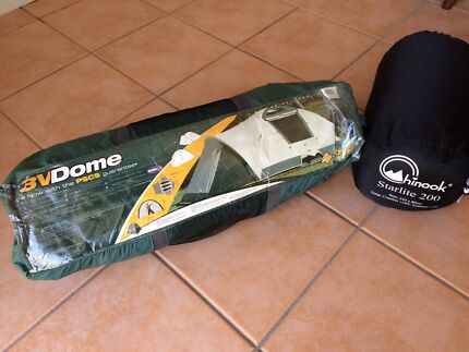Oztrail dome tent and chinook sleeping bag