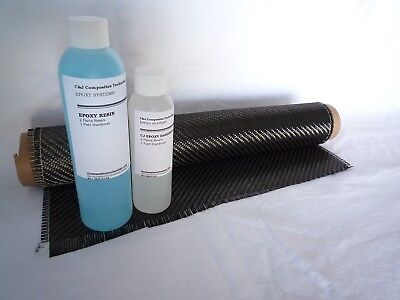 Real Carbon Fiber Resin Kit 2x2 Twill 5.8 Oz. 50 X 12 And 12 Oz. Epoxy Resin