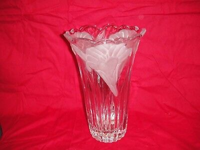 Studio Nova Wild Lily flower vase glass etched frosted