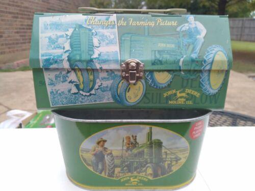 John Deere Metal Folding Lunch Box w/ Wrench Handle + John Deere Tin Bucket Tub