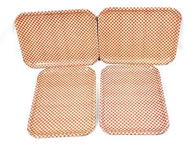 Vintage TV Lap Tray Red And White Gingham Checkered Kitchen Decor Lot of - Tv Trays Big Lots