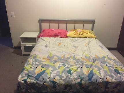 2x double bed mattress+frame (in good condition!!) &side table