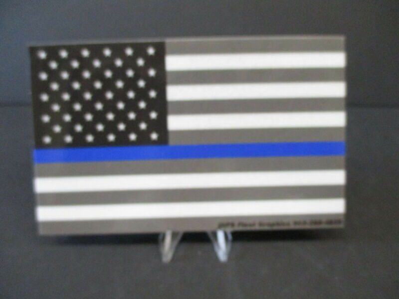"POLICE BLUE LINE FLAG VINYL DECAL, REFLECTIVE, 5"" X 3"""