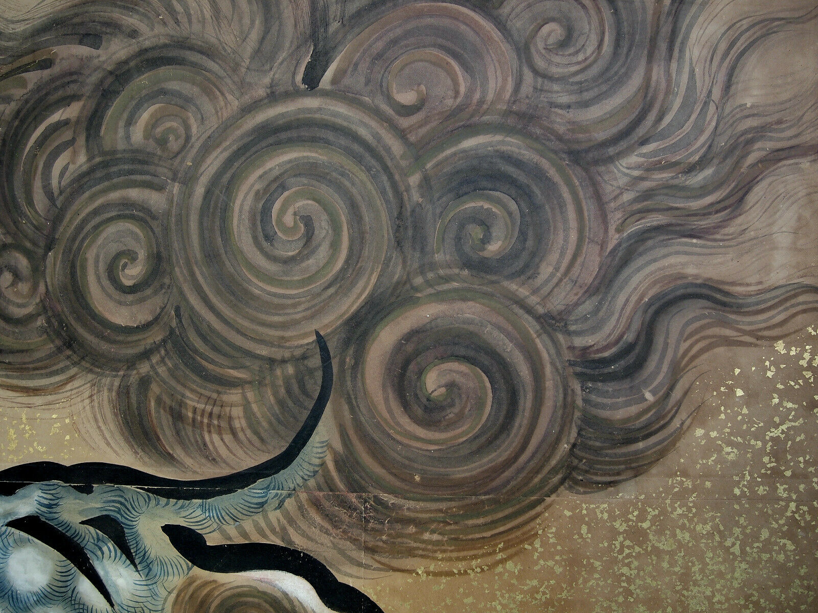 ANTIQUE KANO FOLDING SCREEN 1700 Chikanobu Edo Shishi Lion Byobu Japanese Tattoo - $25,000.00