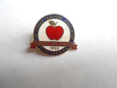 Vintage 1990 California Teachers Assn NEA Year of the Teacher Award Pin Pinback