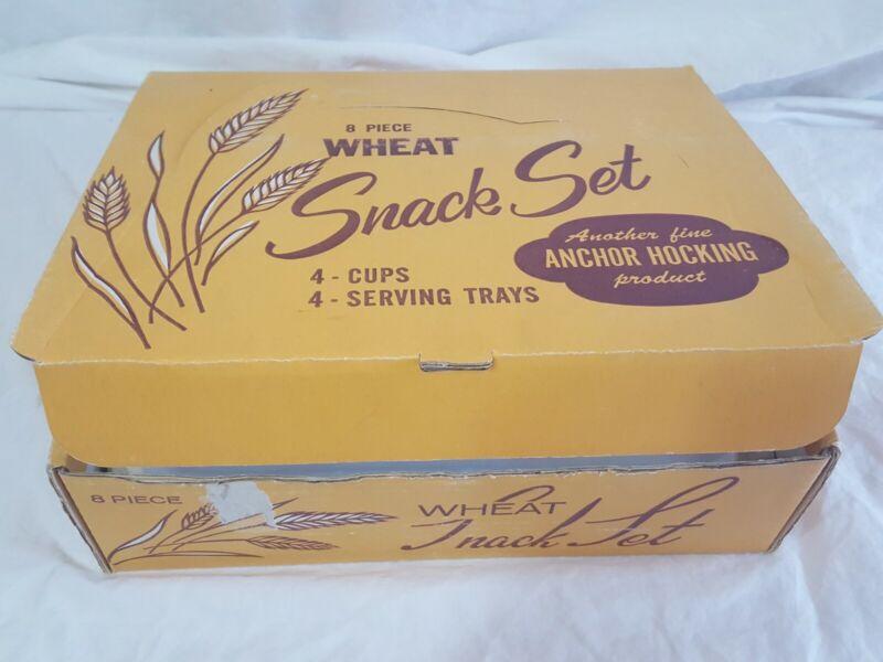 Vintage Anchor Hocking 8 pcs Snack Set Golden Wheat Pattern Milk Glass Stunning