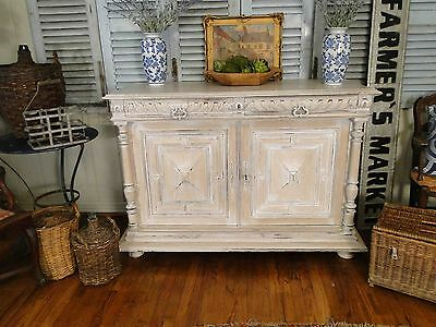 Old-fashioned French Country Sideboard Server Buffet Carved painted Provence Old