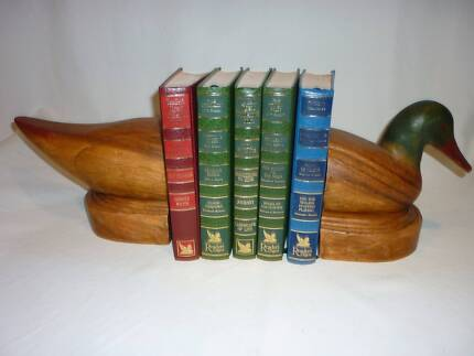 LARGE Wooden Duck Bookends. Wood Duck Book Ends.