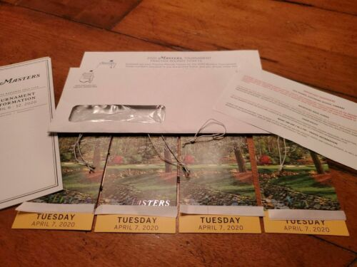 1 2 3 4 MASTERS Augusta 2020 Ticket TUESDAY Badge 4/7 TUESDAY Full Day IN HAND