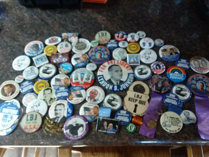 LARGE LOT 106 Presidential Campaign Buttons Keychain Decals Nixon Kennedy Carter