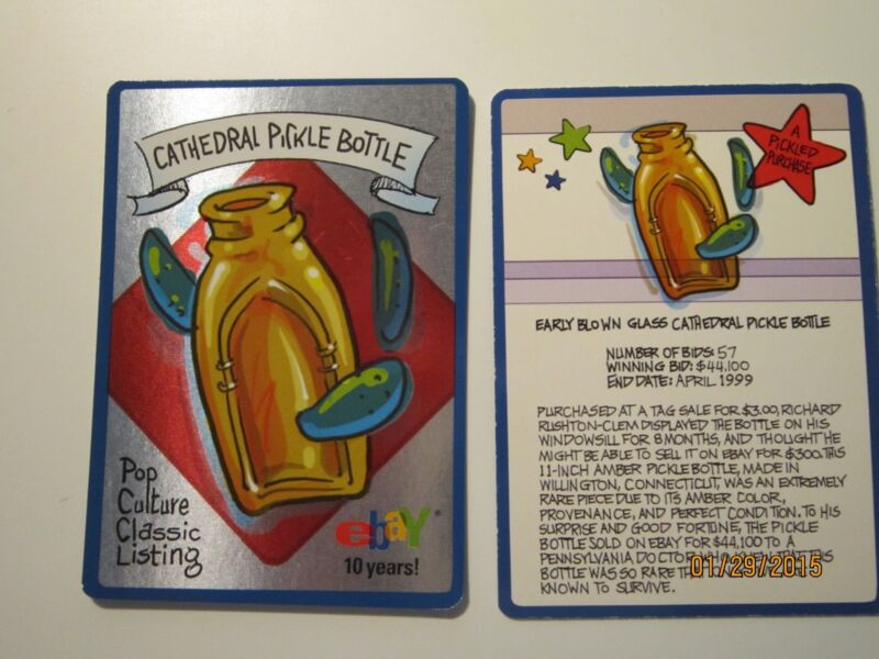 "Ebay Live 2005 10 Yr Collector Trading Card ""Cathedral Glass Pickle Bottle """