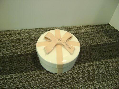 "Pandora Ceramic Gift Trinket Box Pink Bow Ribbon Removeable Insert 3-3/4"" x 2"""