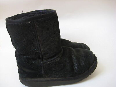 Sparkle Uggs Kids (Ugg BOOTS K Classic short glitter Black 2 girls kids youth uggs suede)