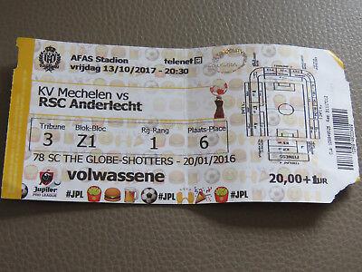 TICKET : KV MECHELEN - RSC ANDERLECHT 13-10-2017 CHAMPIONNAT BELGIQUE