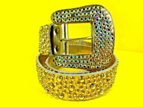 "Michael Morrison Vintage 1986 Gold Leather Rhinestone And Studded Belt 35"" Long"
