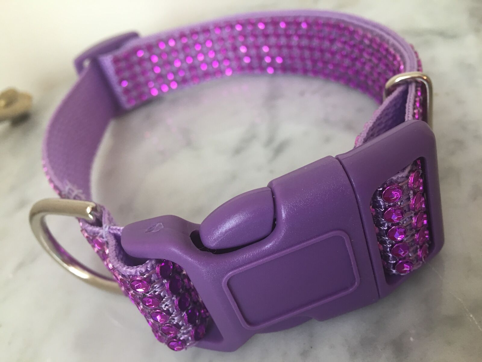 Rhinestone Bling Lavender  Dog Collar Quick Release Buckle A