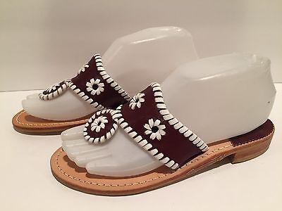 Jack Rogers Navajo Sandals Flat Flip Flop Leather Dark Brown White 6 M