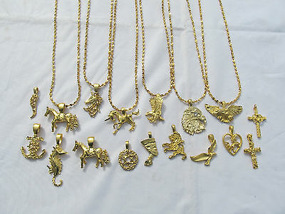 - 22k GP Charm Necklace Eagle Nefertiti Unicorn Cross Anchor Dove Lion 20