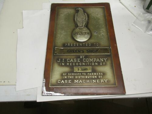 J.I. Case  Recognition Plaque Case Machinery