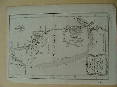 Antique 1746 Bellin Carte de la Coste Occidentale d' Afrique Depuis le Cap Blanc
