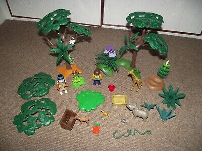Vintage Playmobil Bundle - Jungle/ Safari Figures,Trees,Animals Etc Geobra 1990s