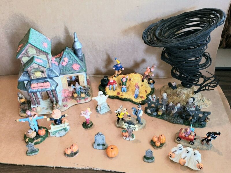 Halloween Mixed Display Lot House, Ghost, Scarecrow,  Tombstone Figurines