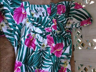 Women's Hawaiian Dress Muu Muu Vintage Hilo Hattie Pink Orchid size small  6 8