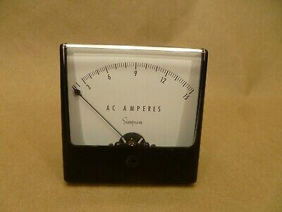 Vintage Simpson Electric Ac Amperes Panel Meter Gauge Amp Gauge 0-15 Amps