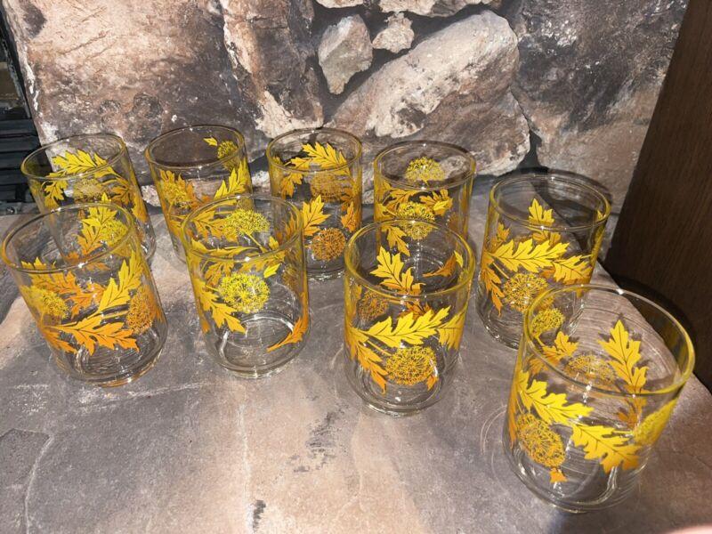 9 Vintage Libbey Yellow Orange Dandelion 8 oz Glasses Lot. Pristine Condition!