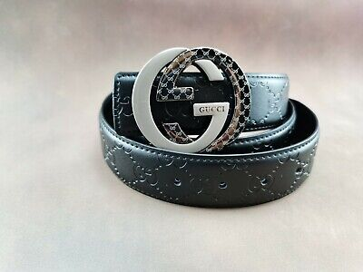 Genuine Gucci Vintage Signature Leather Men's Belt in Black with a Stainless Ste
