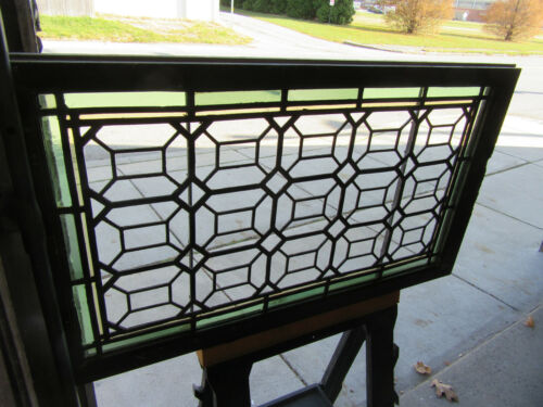 ~ ANTIQUE STAINED GLASS TRANSOM WINDOW~ 40.25 x 23.25 ~ ARCHITECTURAL SALVAGE