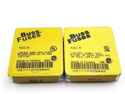 """Lot of 10 Bussmann AGC6 Fuses 250V 6 Amp 1/4"""" x 1-1/4"""" Fast Acting Glass Fuses"""