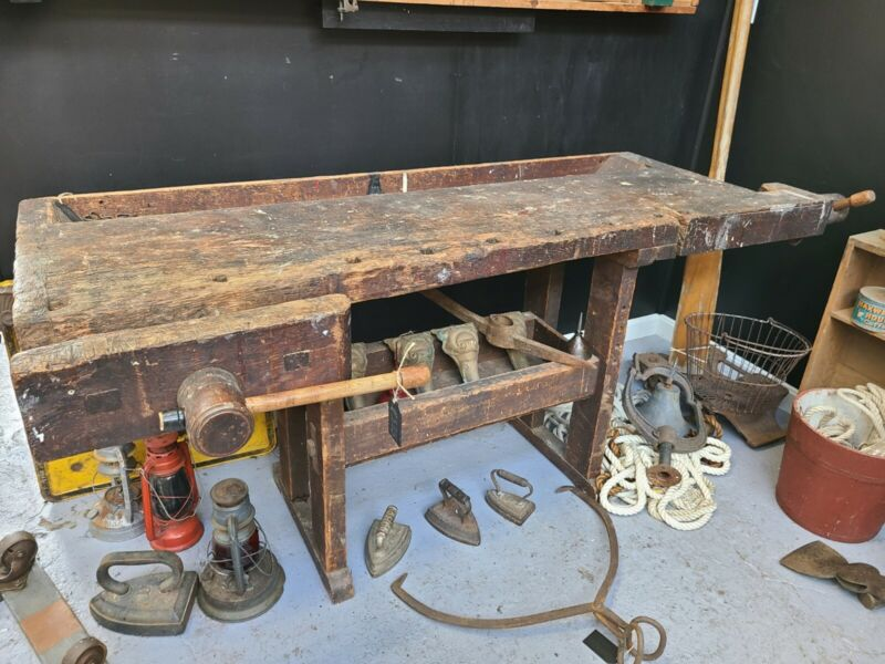 Antique Carpenters Bench 1800s woodworkers Bench Great Repurposing Potential