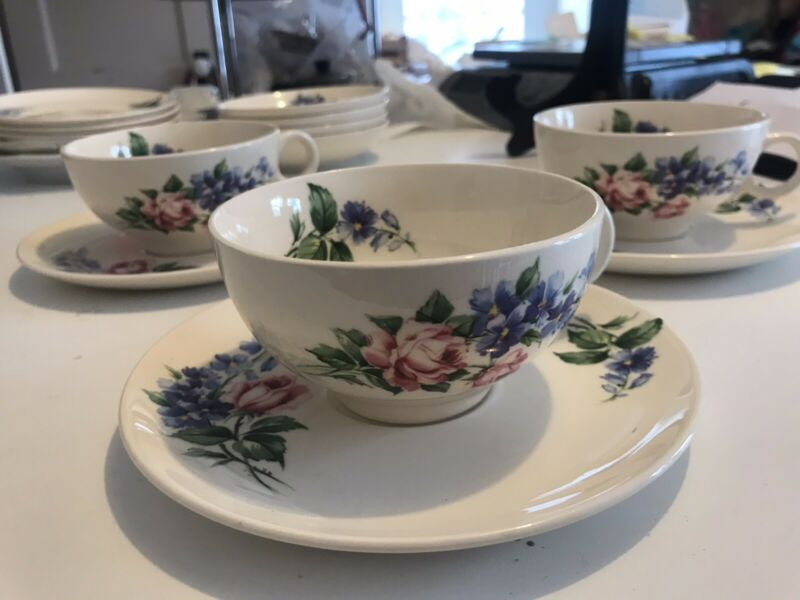 Set 3 Universal ballerina Cup And  Saucer E51 Pink Roses Blue Larkspur Flower