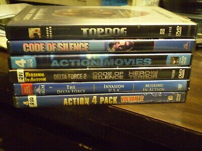 (11) Chuck Norris DVD Lot: Top Dog (2) Delta Force Missing