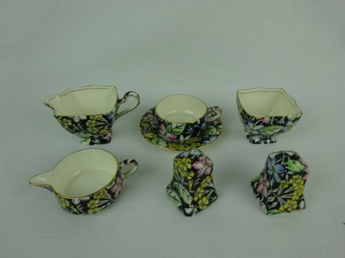 "Royal Winton Grimwades Chintz ""Spring Glory Black"" ~ 7 Piece Collection ~"