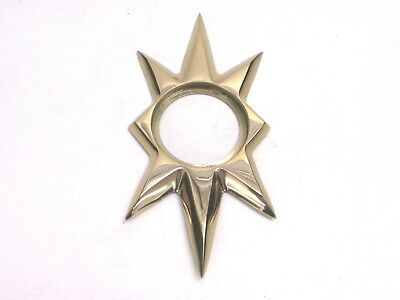 TRIANGLE 100 STARBURST DOOR ESCUTCHEON, KWIKSET, US3 BRIGHT BRASS CAST