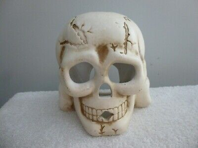 Ceramic Skull, Candle Holder, Tea Light or Candle Stick, Great For Halloween