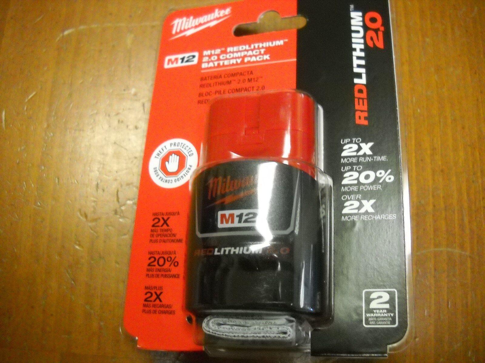Milwaukee 48-11-2420 M12 12 Volt 2.0Ah Lithium-Ion Compact Battery Pack Li-Ion