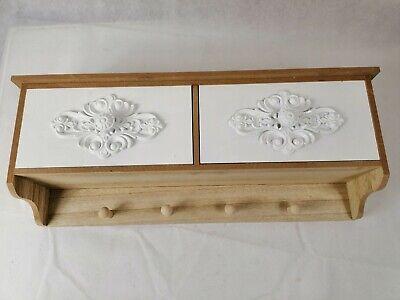 Wandregal, Küchenregal Wandgarderobe mit 4 Haken und 2 Schubladen Neu (Garderobe Mit Regal)