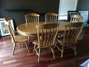 7 piece solid oak dining table and chair set