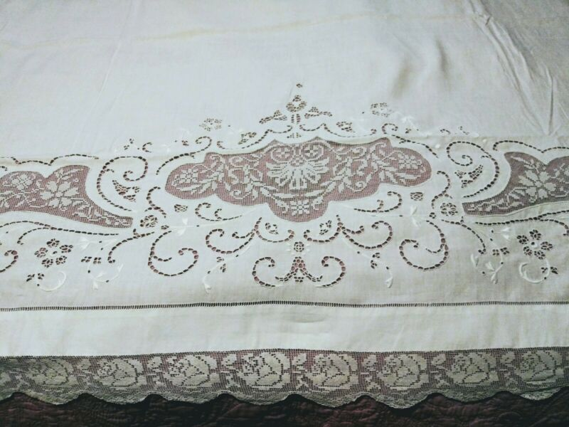 "Gorgeous Vintage / Antique Italian Filet Lace Embroidered Linen Sheet 94""x 70"""