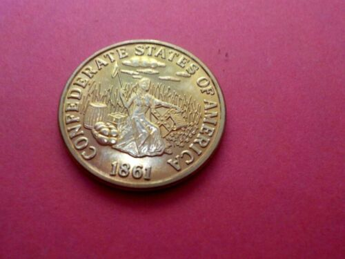 1861 SEATED LIBERTY CSA CONFEDERATE STATES $5 DOLLARS GOLD COIN COPY BRASS