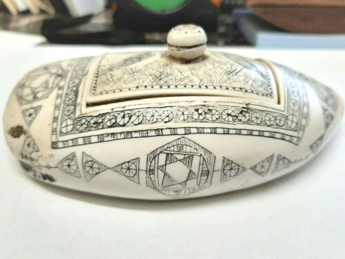 Scrimshaw Whale Tooth resin REPRODUCTION, 5 1/2 inch