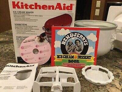 KitchenAid Ice Cream Maker Stand Mixer Attachment KICA0WH & Ben & Jerry's book