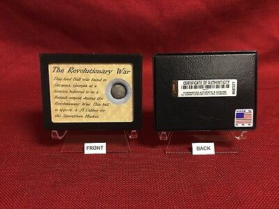 Authentic Revolutionary War Bullet Relic 71 Caliber with Display Case and COA