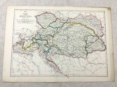Antique Map of Austria Europe Old Hand Coloured 19th Century Original