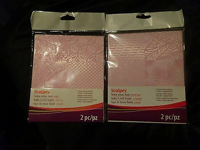 Sculpey 2pks FLEXIBLE TEXTURE SHEETS Add texture 2 your CLAY Project 14 Patterns
